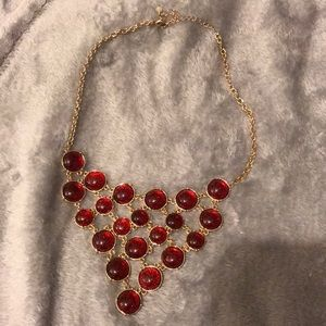 Golden Statement Necklace with Red Beads